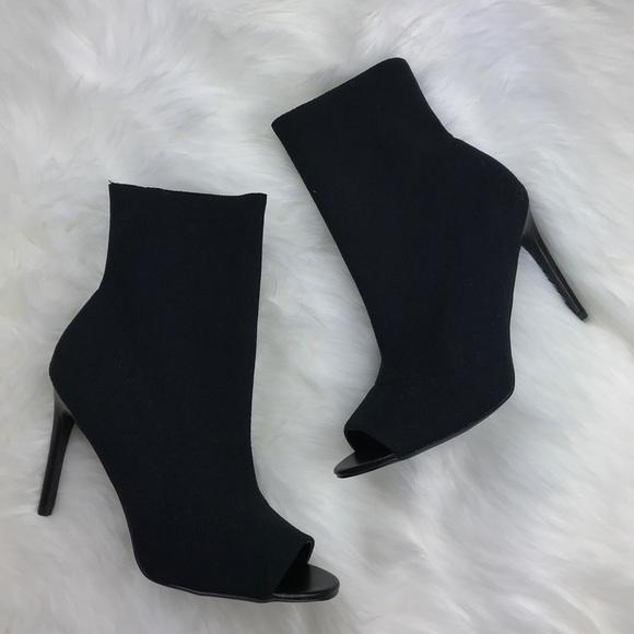 Steve Madden Black Sock Boots Peep Toe